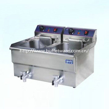 Commercial Double Cylinder Electric Fryer WithTap